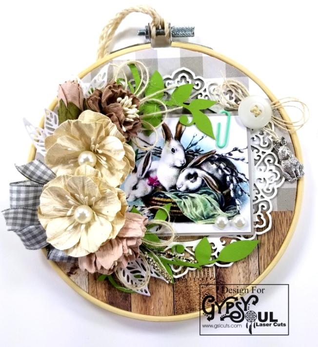 Bunny Basket Easter Hoop Decor Polly's Paper Studio 01