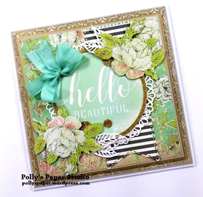 Hello Beautiful Greeting Card Polly's Paper Studio 01