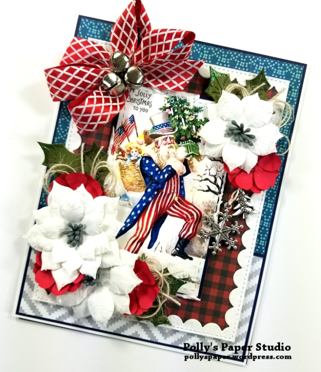 Patriotic Christmas Greeting Card Polly's Paper Studio 02