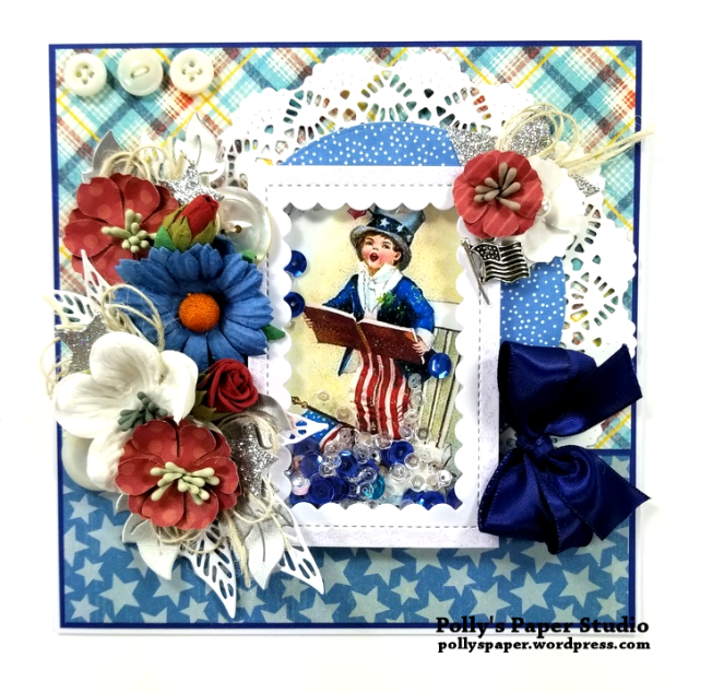 Patriotic Shaker Greeting Card Polly's Paper Studio 01