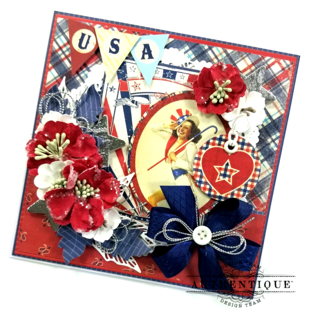 USA Patriotic Easel Greeting Card Polly's Paper Studio 03