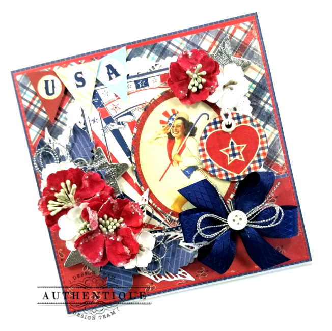 USA Patriotic Easel Greeting Card Polly's Paper Studio 04