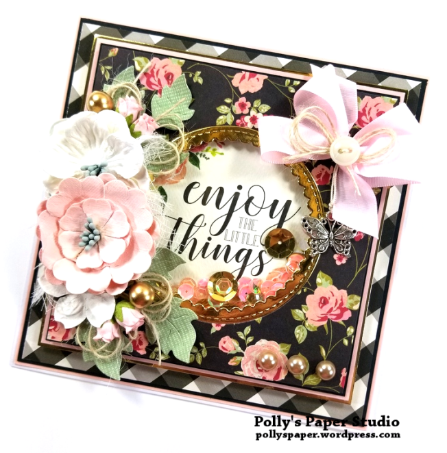 Enjoy the Little Things Gold Greeting Card Polly's Paper Studio 02