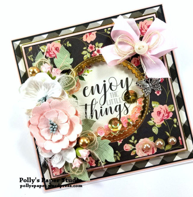 Enjoy the Little Things Gold Greeting Card Polly's Paper Studio 03