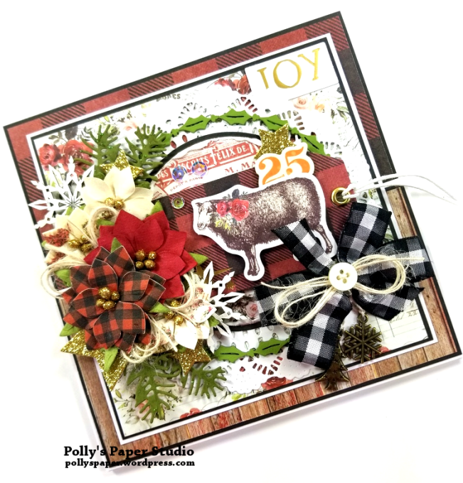 Joy Fancy Fold Christmas Card Polly's Paper Studio 02