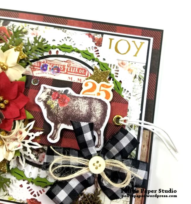 Joy Fancy Fold Christmas Card Polly's Paper Studio 04