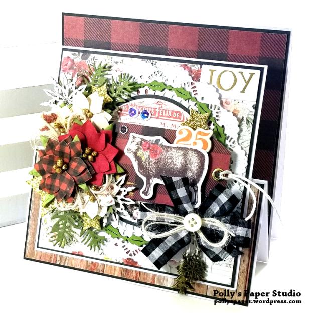 Joy Fancy Fold Christmas Card Polly's Paper Studio 05