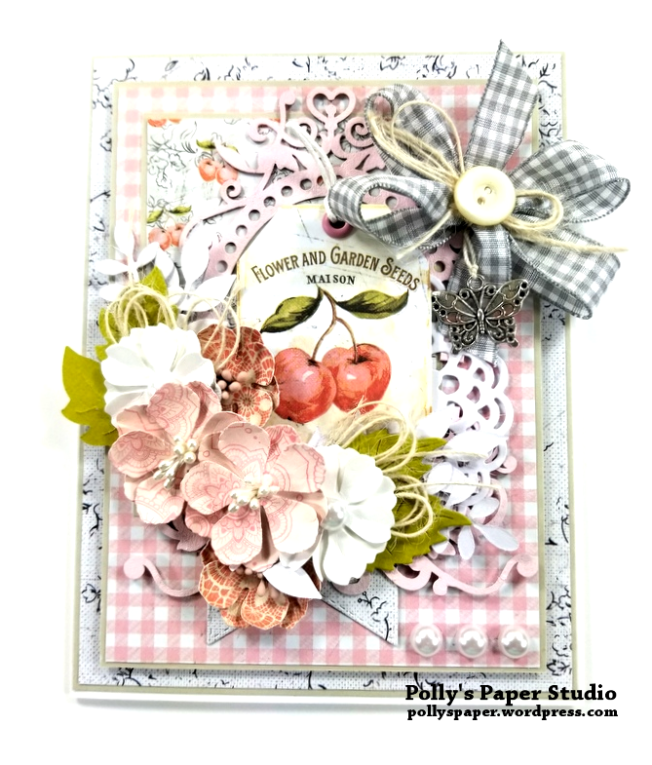 Pink Gingham Cherry Card Polly's Paper Studio 01