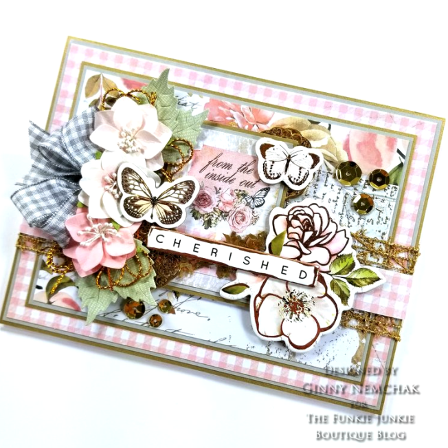 Prima Apricot Honey A4 Paper Pad & Chipboard Stickers Prima Fruit Paradise A4 Paper Pad & Ripe Berry Flowers Ranger Liquid Platinum Embossing Powder May Art Gold Mesh Ribbon Art Alchemy Clear Stamp #6 Antique Gold Ice Resin Round Flower 02