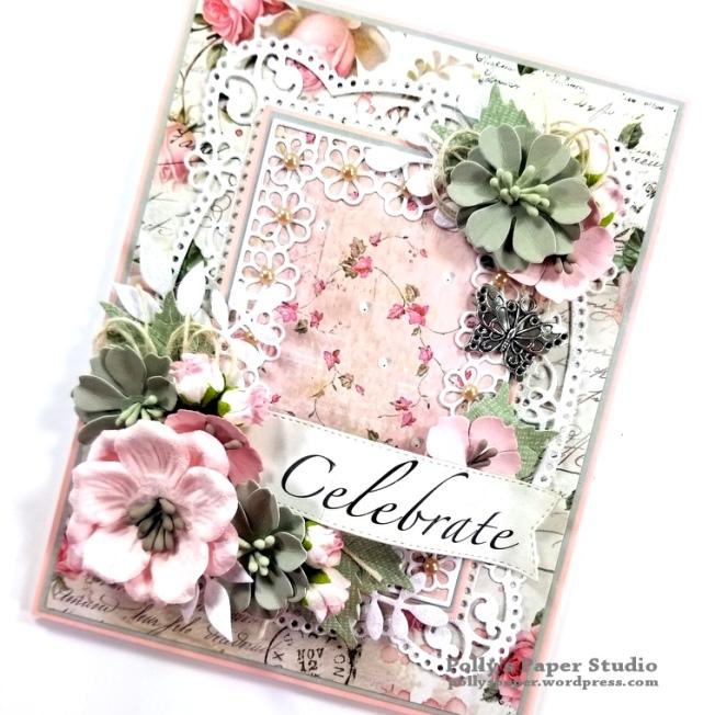 Celebrate Card Spellbinders Amazing Paper Grace Die Polly's Paper Studio 03
