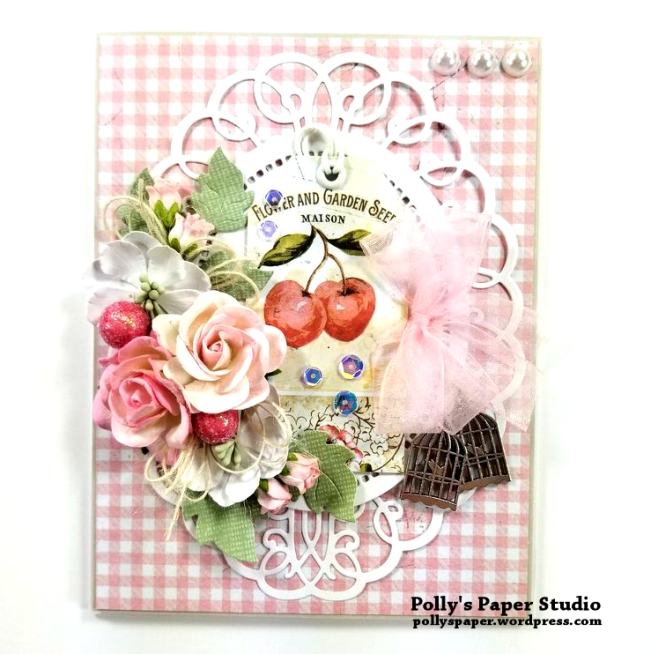 Cherry Tag Greeting Card Polly's paper Studio 01