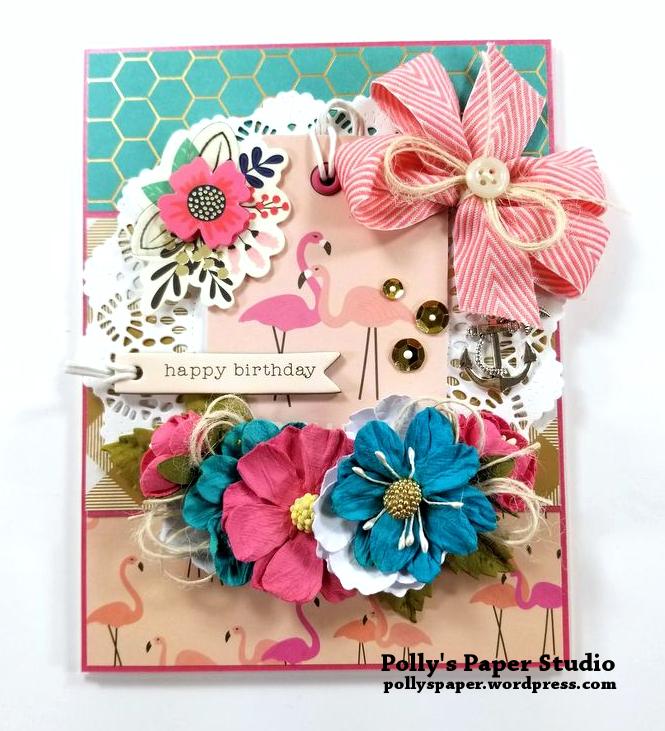 Flamingo Birthday Greeting Card Polly's Paper Studio 01
