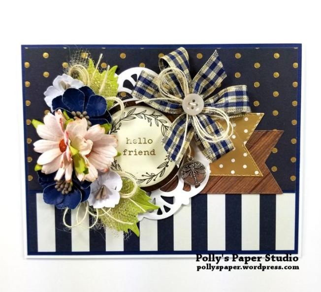Hello Friend POlka Dot Greeting Card Polly's Paper Studio 01
