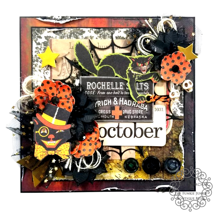 Tim Holtz Halloween Ideaology Ephemera Abandonded Paper Wall Paper Ice Resin BoBunny Glitter Paste Polly's Paper Studio 01