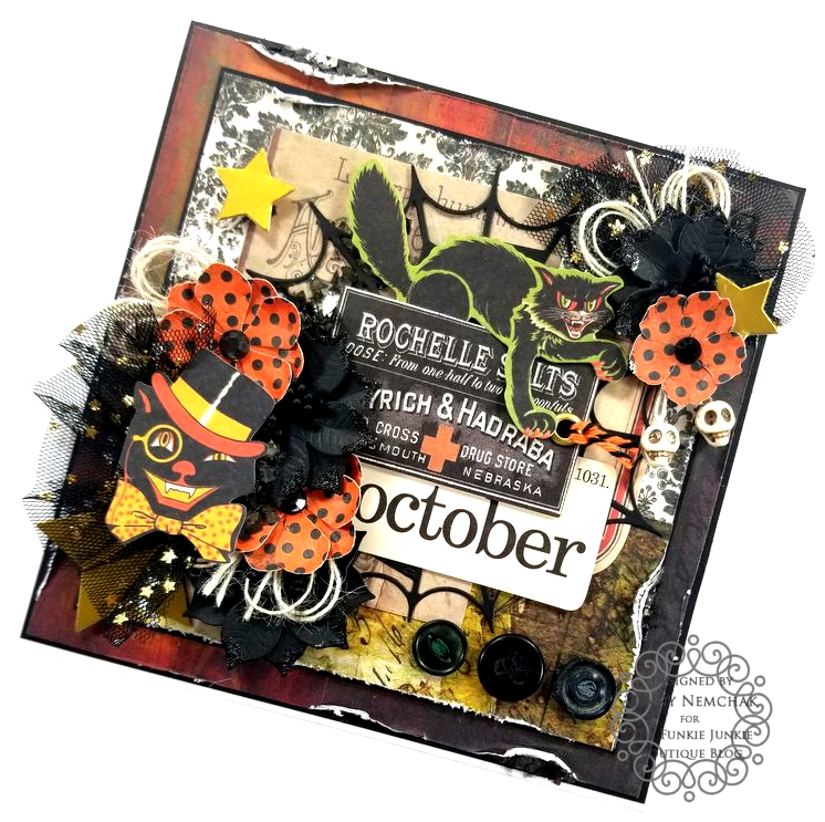 Tim Holtz Halloween Ideaology Ephemera Abandonded Paper Wall Paper Ice Resin BoBunny Glitter Paste Polly's Paper Studio 02