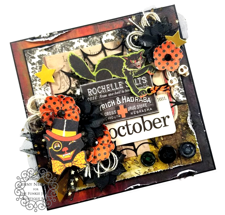 Tim Holtz Halloween Ideaology Ephemera Abandonded Paper Wall Paper Ice Resin BoBunny Glitter Paste Polly's Paper Studio 03