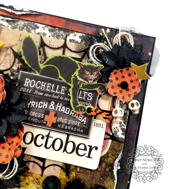 Tim Holtz Halloween Ideaology Ephemera Abandonded Paper Wall Paper Ice Resin BoBunny Glitter Paste Polly's Paper Studio 05