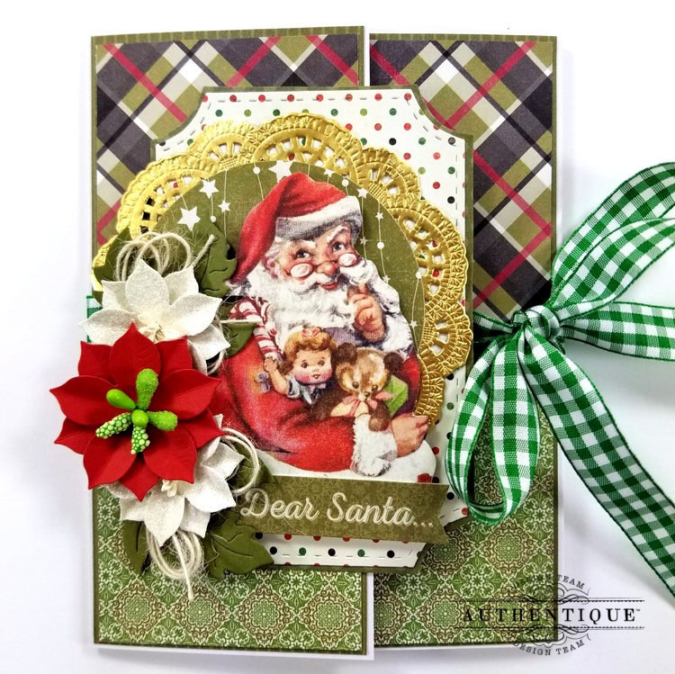 Dear Santa Gatefold Christmas Greeting Card Polly's Paper Studio 01