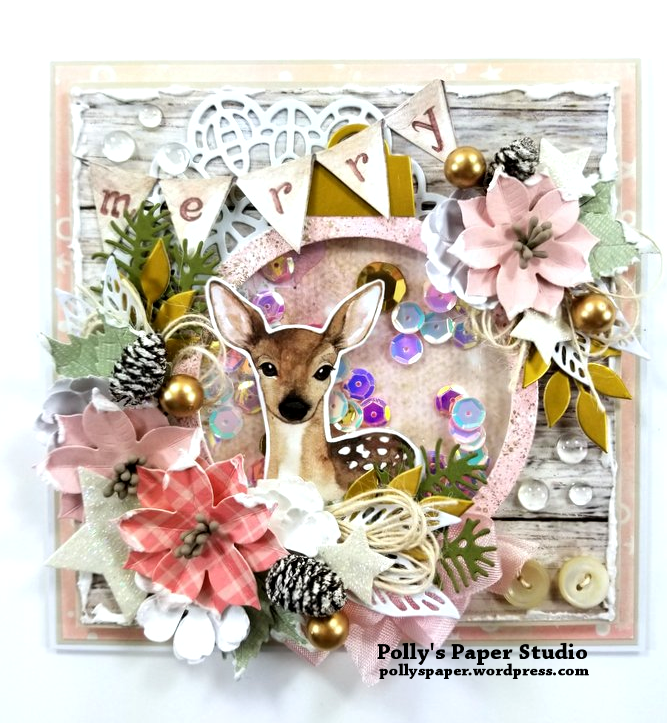 Shabby Chic Deer Shaker Greeting Card Polly's Paper Studio 01