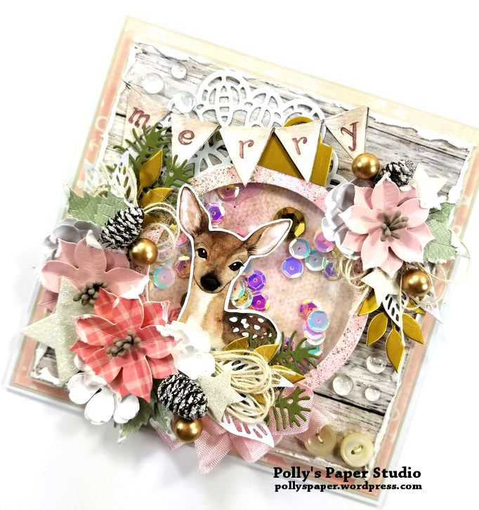 Shabby Chic Deer Shaker Greeting Card Polly's Paper Studio 02
