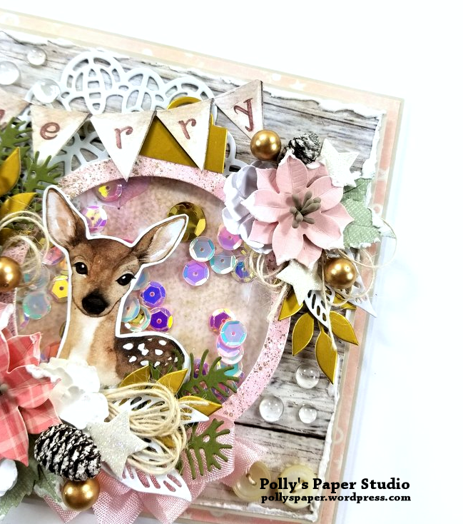 Shabby Chic Deer Shaker Greeting Card Polly's Paper Studio 04