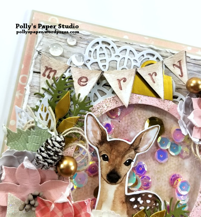 Shabby Chic Deer Shaker Greeting Card Polly's Paper Studio 06