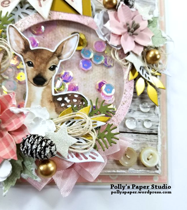 Shabby Chic Deer Shaker Greeting Card Polly's Paper Studio 07
