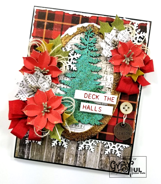 Deck The Halls Christmas Greeting Card Polly's Paper Studio 02
