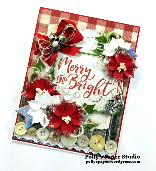 Merry and Bright Christmas Greeting Card Polly's Paper Studio 02
