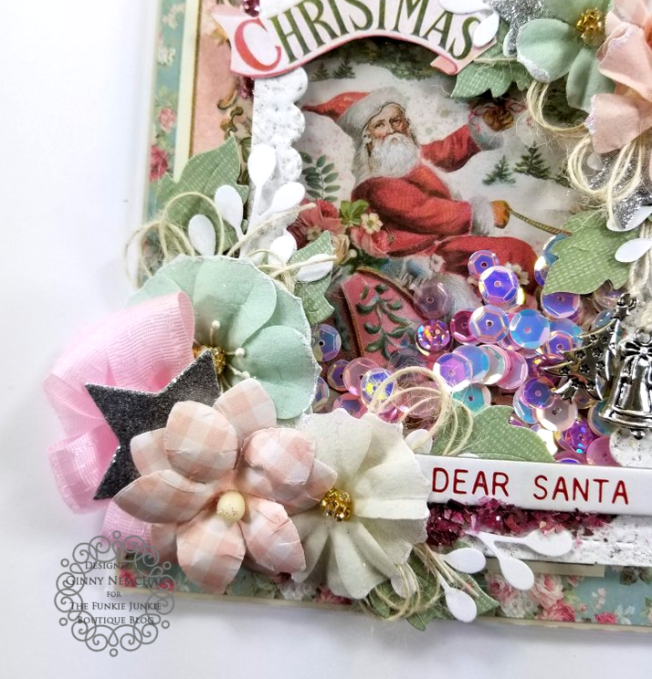 Stamperia Pink Christmas Prima Flowers Tim Holtz Idea-ology Shaker Greeting Card Polly's Paper Studio 04