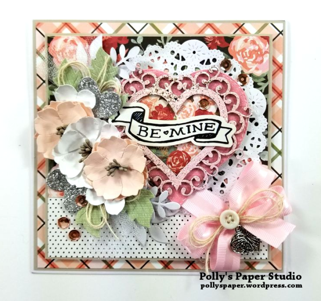 Be Mine Valentine Greeting Card Polly's Paper Studio 01