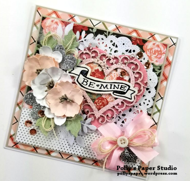 Be Mine Valentine Greeting Card Polly's Paper Studio 02