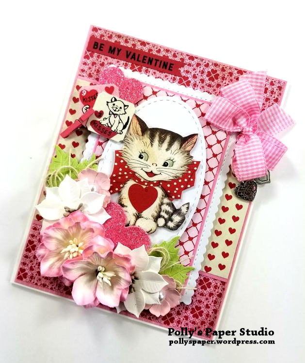 Be My Valentine Kitten Greeting Card Polly's Paper Studio 02