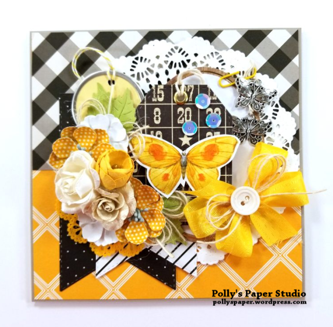 Butterfly Greeting Card Yellow Polly's paper Studio 01