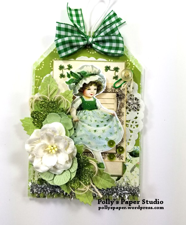 Irish Lass Layered Tag St Patrick's Day Polly's Paper Studio 01