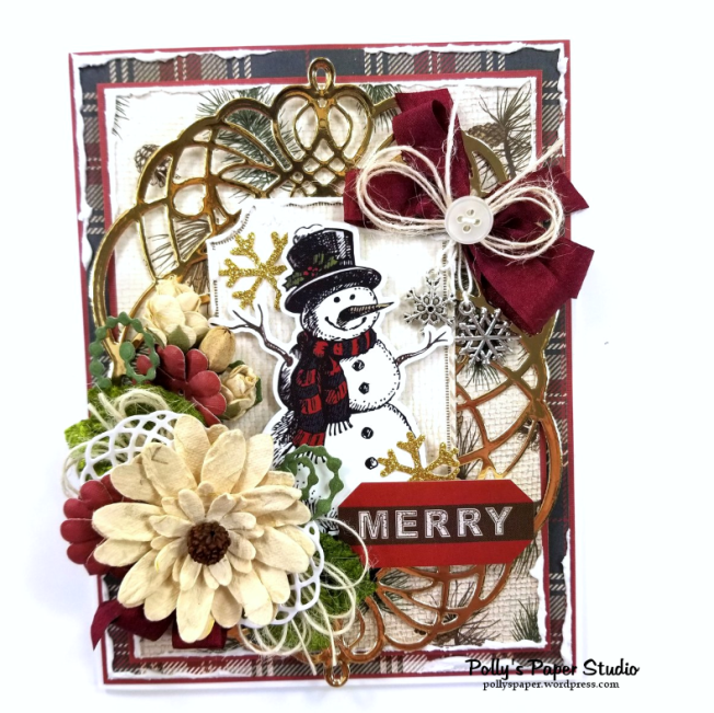 Merry Christmas Snowman Greeting Card Polly's Paper Studio 01