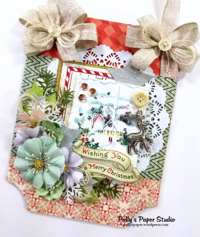 Wishing You a Merry Christmas Wall Hanging Polly's Paper Studio 02